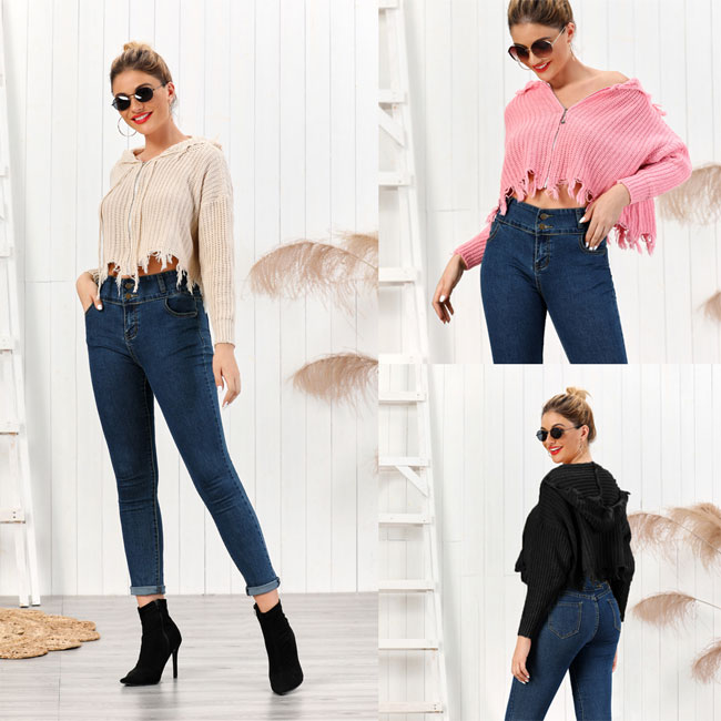 Leisure Knit Hooded Multi-color Short Fringe Women Sweater Tassel Long Sleeve Cardigan