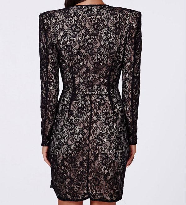 Sexy Deep V Irregular Long Sleeve Black Lace Dresses