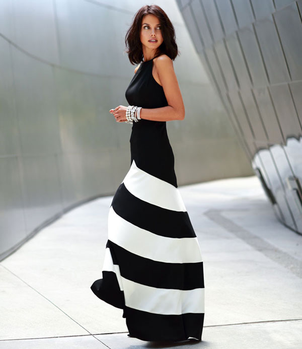 Striped Sleeveless Long Dresses Party Dresses Evening Dress