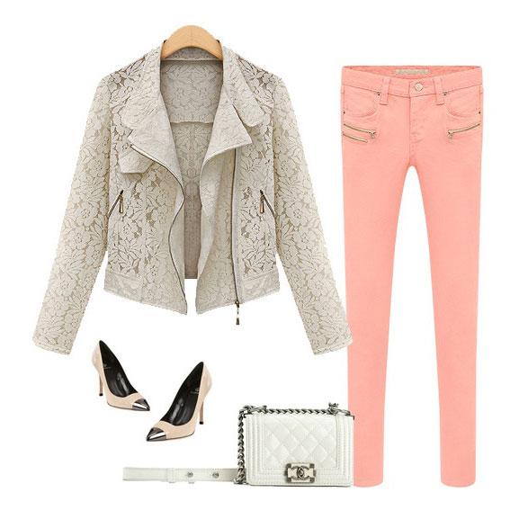 Slim Lace Zipper Lapel Jacket Coat