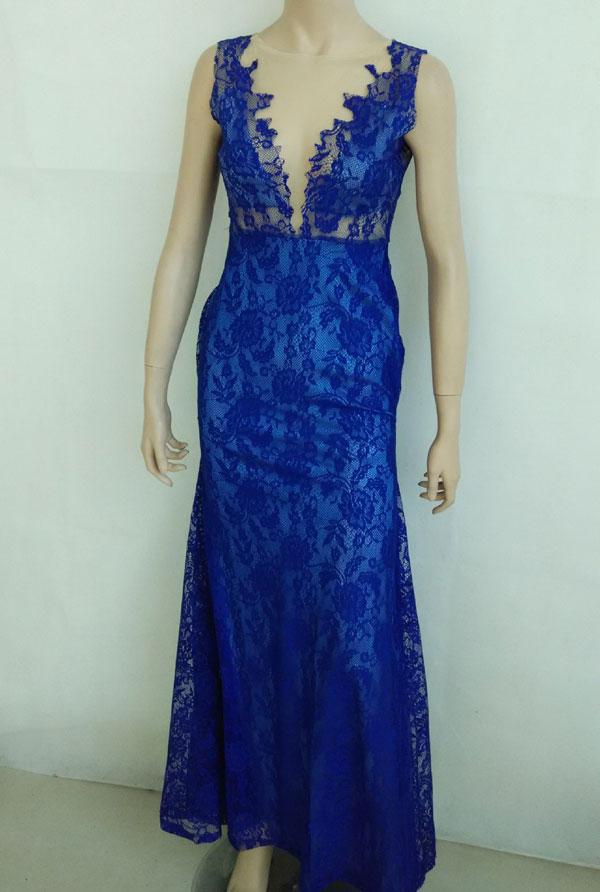 dünner tiefer V Backless Spitze-Kleid Kleid