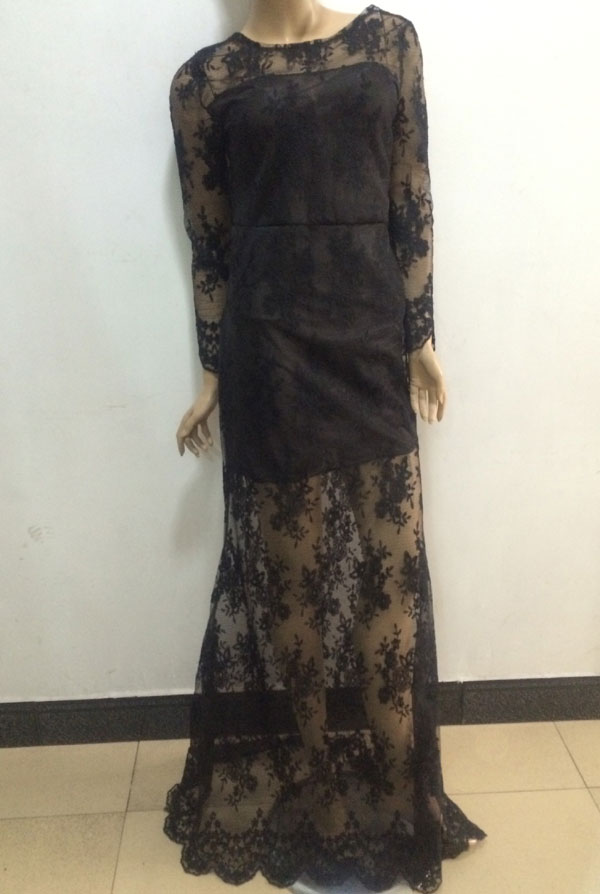 Backless Embroidered Black Long Lace Dress