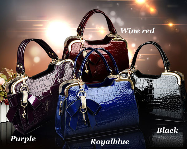Fashion Bow Stone Pattern Handbag Shoulder Bag