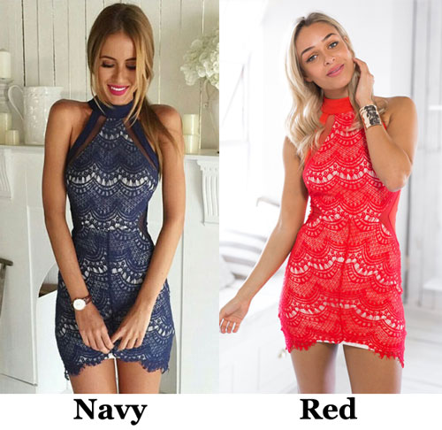 Pretty Sexy Off Shoulder Halter Solid Semitransparent Lace Slim Dress