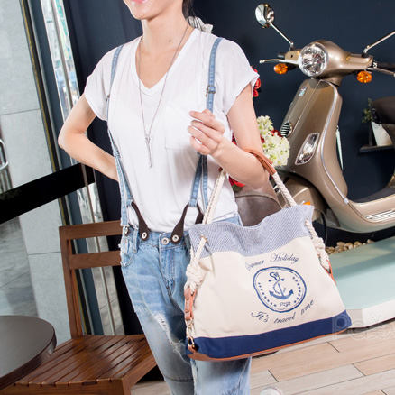 Fashion Sweet Navy Anchor Print Handbag