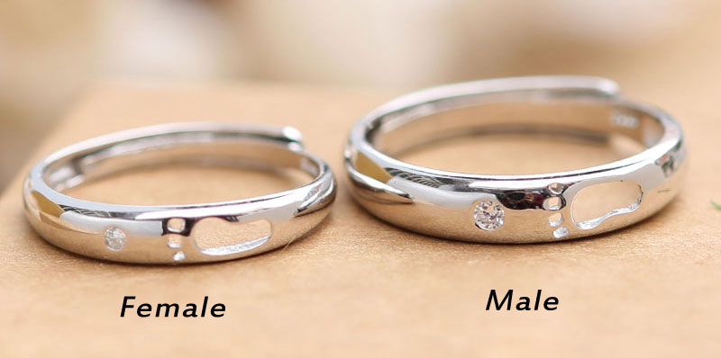 Romantic Lover Hollow Feet Silver Couple Adjustable Ring
