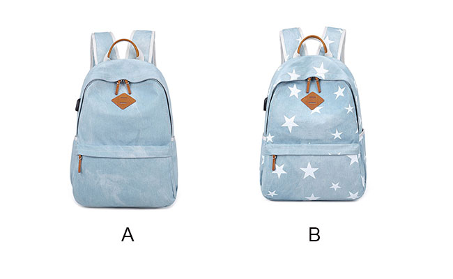 Fresh Light Blue Student Stars Denim School Bag Canvas Backpack
