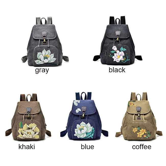 Folk Single Button Flower Canvas Travel Backpack