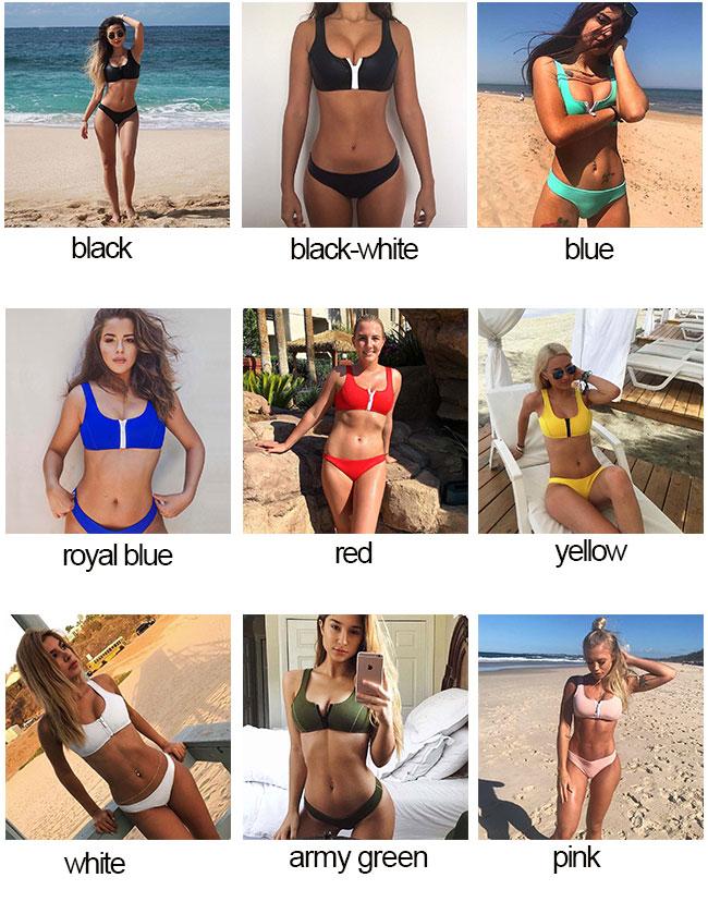 Sexy Women's Chest Zipper Swimsuit Two Sets Bikinis Summer Swimwear