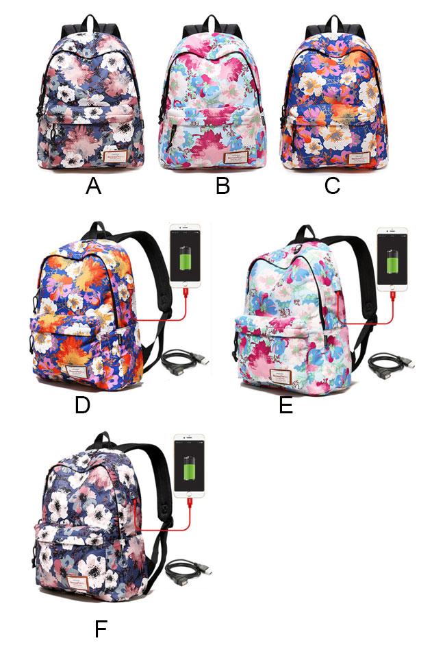 Leisure Flower School Bag Large Floral Polyester Backpack