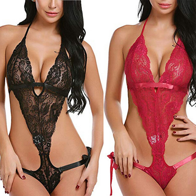 Sexy Cross Flower Lace Hollow Sling Conjoined Women Intimate Lingerie