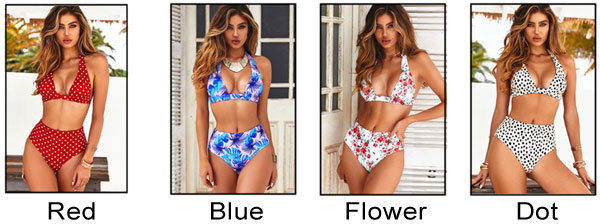 Sexy Sling Summer Swimsuit Flower Dot Banana Leaves High Waist Bikinis