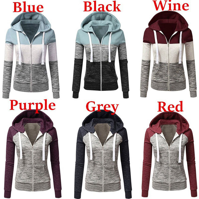 Leisure Color Contrast Hooded Stripe Drawstring Women Sweater Long Sleeve Tops