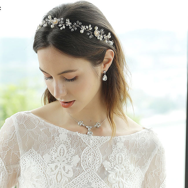 Unique Beautiful Flower Pearl Branch Handmade Beaded Headband Wedding Hair Accessories