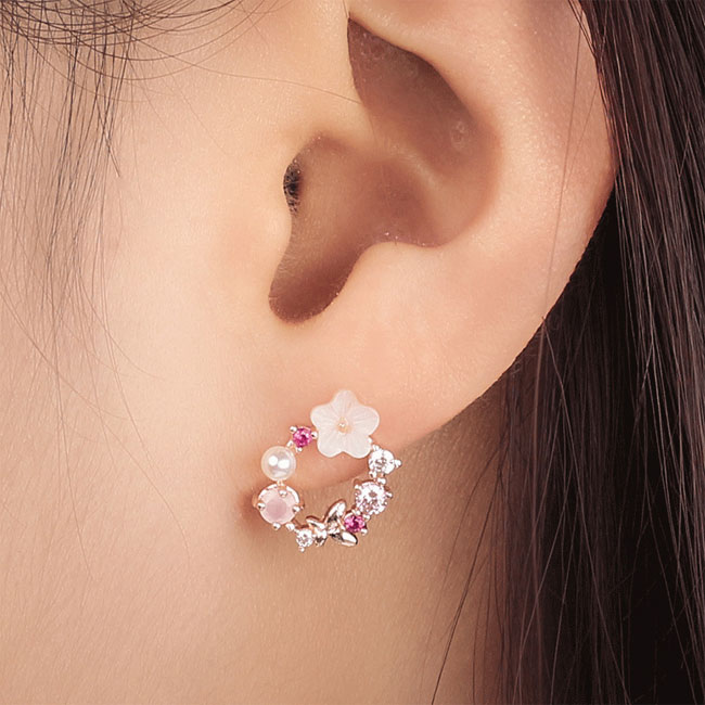 Cute Flower Earrings Pearl Crystal Bow Wreath Earring Studs