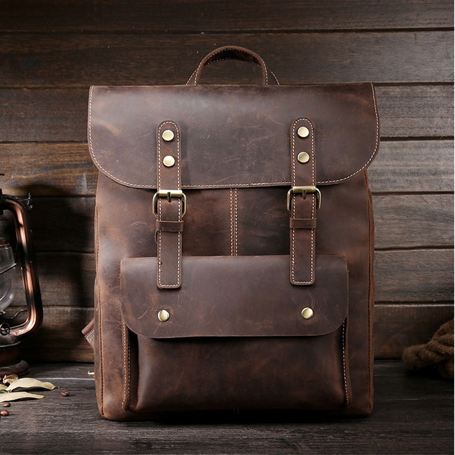Retro Leather Double Buckle British Style Large School Backpack Leisure Handmade Travel Rucksack