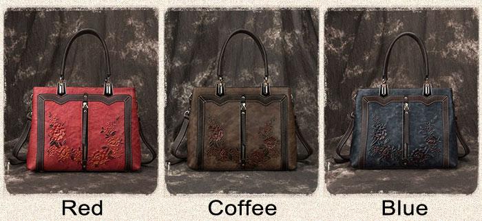 Vintage 3D Flower Vertical Zipper Women Handmade Leather Handbag Shoulder Bag