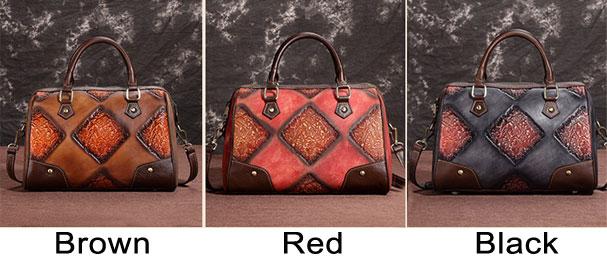 Retro Original Handmade Embossing Brush Travel Handbag Shoulder Bag
