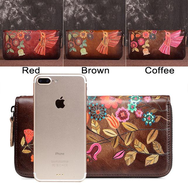 Vintage Large Long Purse Large Phone Clutch Bag Retro Colorful Flower Bird Leaves Branch Embossing Wallet
