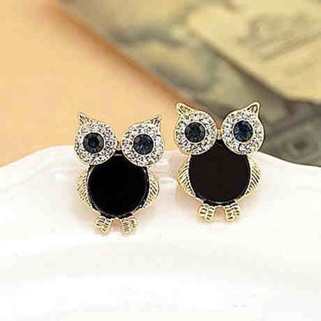 Fashion Cute Owl Black Crystal Rhinestones Ear Studs