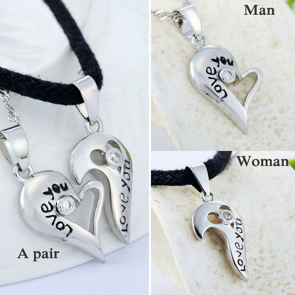 Lover Gift 925 Sterling Silver Couple Paired Pendant