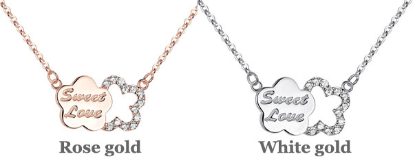 Plum Letter Diamond Encrusted Silver Pendant Necklace