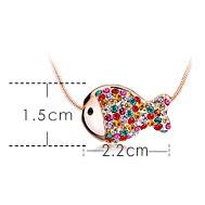 Cute Colorful Rhinestone Fish Necklace