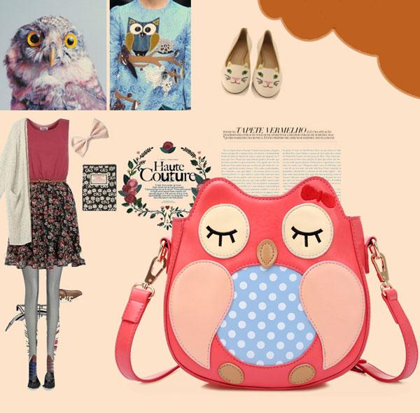 Lovely Owl Cartoon Shoulder Bag Messenger Bag