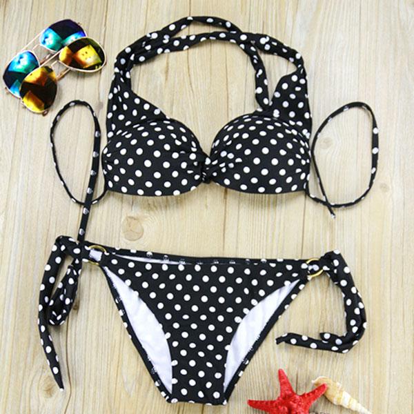 Sweet Dot Black Bikini Swimsuit