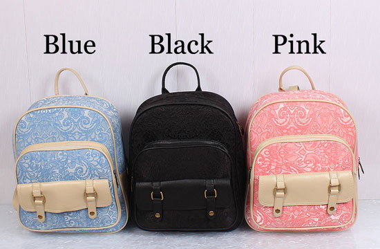 Fresh Pink Lace Floral Rucksack Double Hasp Bag Travel Backpack ...