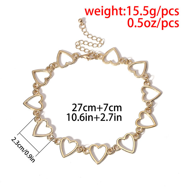 Fashion Simple Love Heart Shaped Hollow Chain Personality Women Necklace