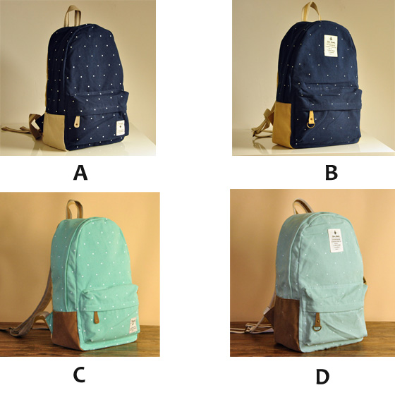 fashion Cute Dot Print Canvas Backpacks
