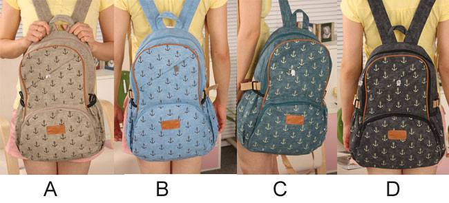 fashion Cute Leisure Anchor Print Canvas Backpacks
