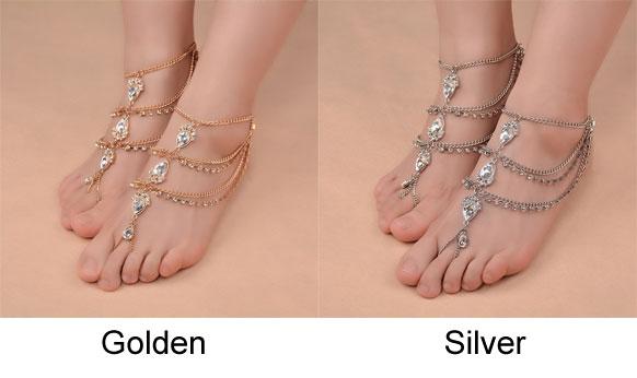 Cute Hand-made Feet Accessory Summer Diamonds Bohemian Ethnic Drop Tassel Anklets