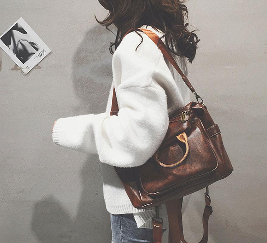 Retro Diagonal Zipper Brown Multi-function Handbag Shoulder Bag Backpack