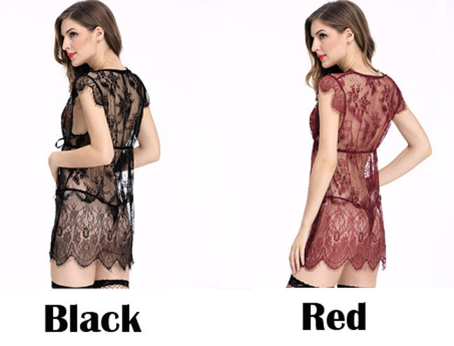 Sexy See Through Lace Stitching Robe Sleepwear Chemise Women's Lingerie