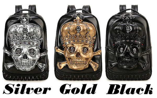 Punk 3D Crown Skull Head Rivets Large Boy's PU Stereo School Backpack