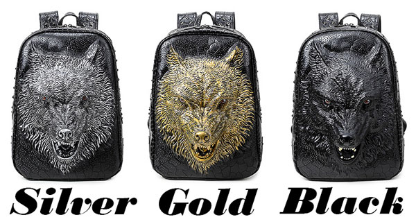 Punk PU Stereo Ferocious Wolf Head Rivets Large 3D Animal School Backpack