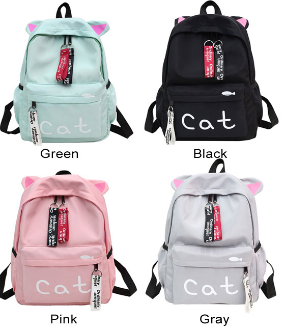 Cute Large Kitten Ear Decor Cat Letter Pure Color Student Bag Canvas School Backpack