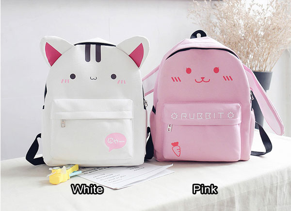 Lovely Shame Cat Rabbit Ear Cartoon Junior School Rucksack Student Bag Backpack