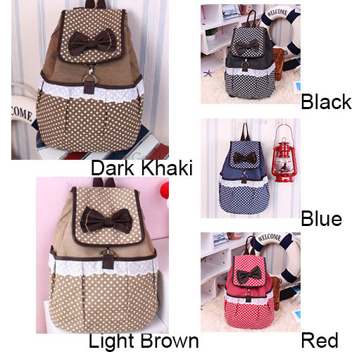 fashion Cute Polka-dot Bow Lace Canvas Backpack