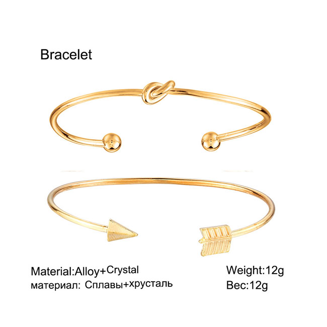 Fashion Golden Arrow Knotted Two Set Open Bracelet