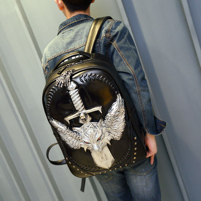 Cool PU Stereo Angel Wings Sword Wild Wolf Rivets Large Punk Animal Backpack
