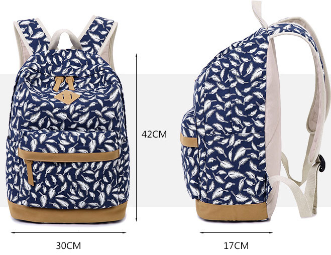Fashion Feather Printed Canvas Casual Backpack Schoolbag | Fashion ...