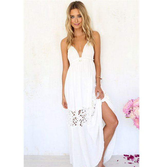 Leisure Hollow-out Backless Lace Summer Stitching Lady White Long Dress