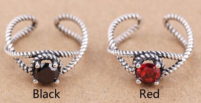 Retro Red Black Zircon Twist Silver Open Rings