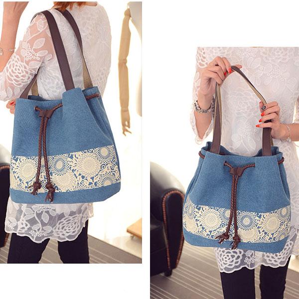 Folk Flowers Printing Draw String Shoulder Bag Shopping Girl's Canvas Handbag
