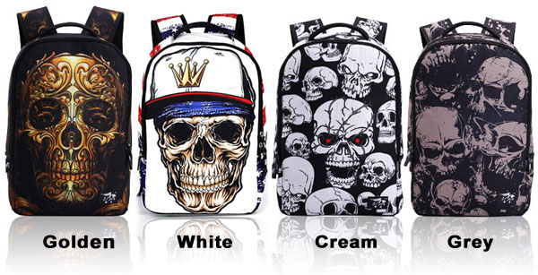 Punk Skull School Rucksack Young Man Polyester Travel Backpack