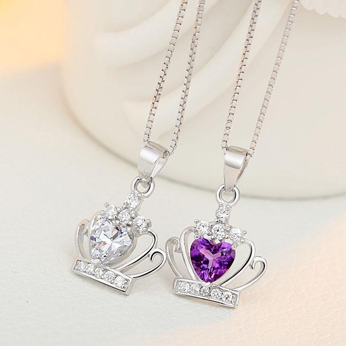 Elegant Crystal Crown Silver Necklace