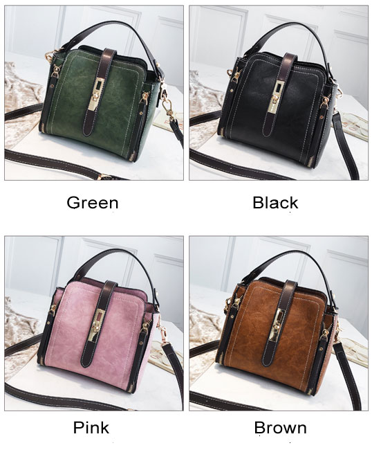 Elegant Double Zippers Single Buckle Women Handbag Shoulder Bag